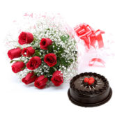 Cake & Bouquet of Flowers